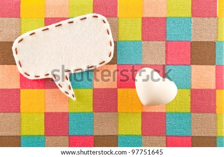 bubble fabric and heart model on color Scotch fabric