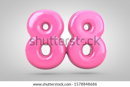 Bubble Gum number 88 isolated on white background. 3D rendered illustration. Best for anniversary, birthday party, new year celebration.