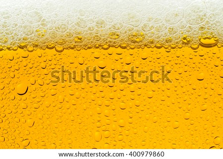 Bubble of beer in glass