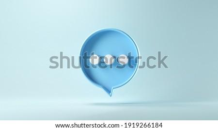 Bubble talk or comment sign symbol on blue background. 3d render.
