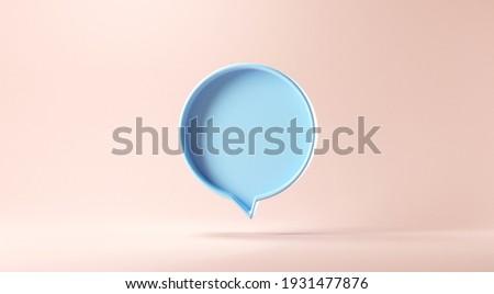 Bubble talk or comment sign symbol on rose gold background. 3d render.