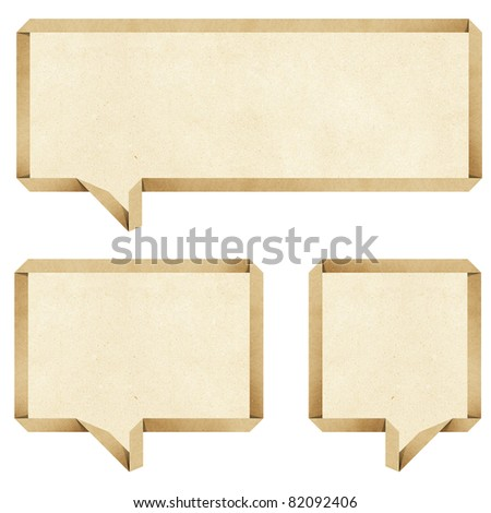 bubble talk origami recycled paper craft stick on white background