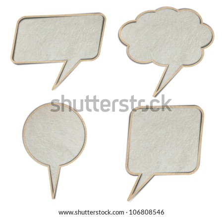 bubble talk tag paper, isolated on white background  ( Save Paths For design work )