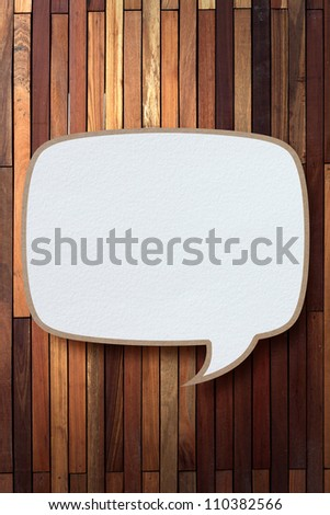 bubble talk tag recycled paper stick on wood background