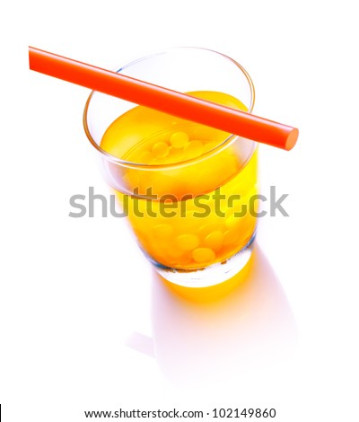 Bubble Tea with a red straw with mango bubbles isolated on white background