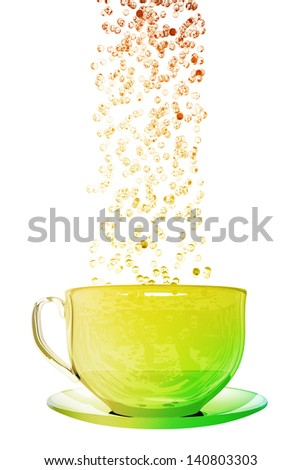 Bubbles and colorful coffe cup