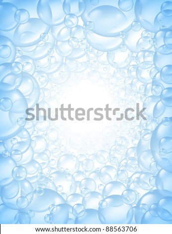 Bubbles background in perspective with center glow and transparent bath soap suds with bunch of foam spheres in many circular sizes floating as clean blue symbols of washing and bath freshness.