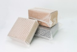Bubbles covering the box by bubble wrap for protection product cracked  or insurance During transit