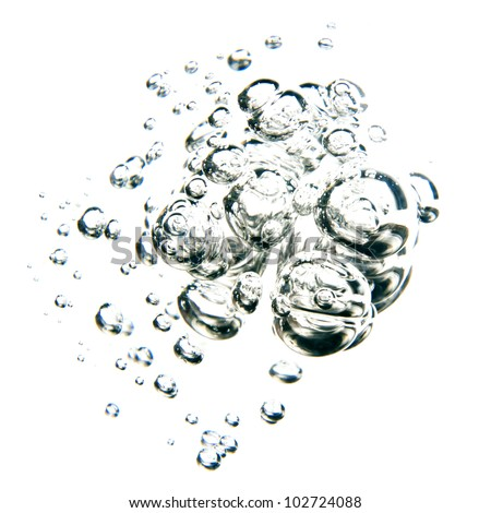 bubbles of water over white background