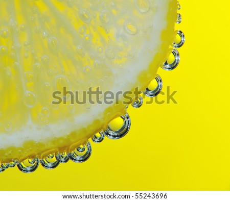 Bubbles on a lemon segment in soda water