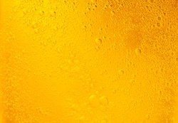 Bubbles on beer background. Oil drop shape on yellow background.Golden circle bubble water pattern.