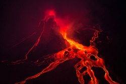 Bubbling lava in the mouth of Nyiragongo volcano, Congo