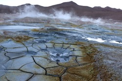Bubbling volcanic mud in Bolivia