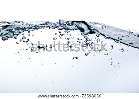 bubles in water isolated on white