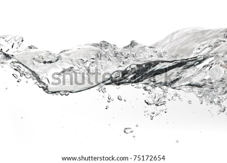 bubles in water isolated on white background