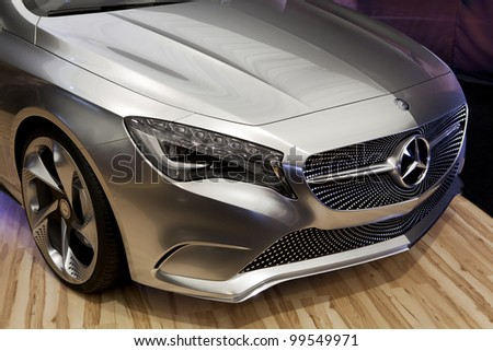 BUCHAREST - APRIL 8: A Mercedes-Benz A-class on display at the 2012 Bucharest Auto Show (SIAMB) on April 8, 2012 in Bucharest, Romania. - stock photo