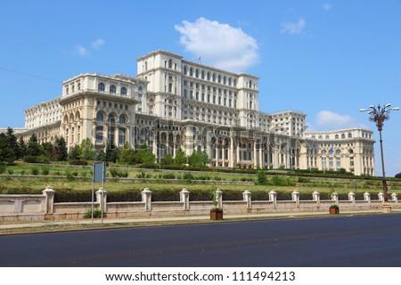 Bucharest, capital city of Romania. Palace of the Parliament (Romanian: Palatul Parlamentului). - stock photo