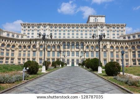 Bucharest, capital city of Romania. Palace of the Parliament (Romanian: Palatul Parlamentului).