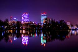 Bucharest city lights, Bucharest skyline, skyscrapers reflecting, city lights at night, night photography