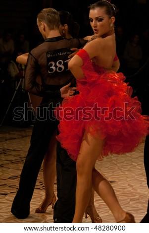 BUCHAREST - MARCH 6: Couple at National Ballroom Dance Championship, March 6, 2010, Bucharest, Romania