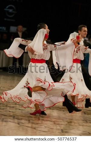 BUCHAREST - MARCH 14: Sport dance ensemble Codreanca, Chisinau of Moldova at IDSF Dance Masters, March 14, 2010, Bucharest, Romania