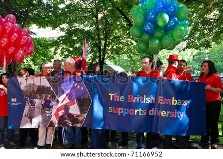 stock photo : BUCHAREST - MAY 22 : British Embassy at Gay Fest Parade May 22