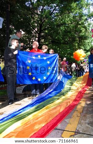 stock photo : BUCHAREST - MAY 22 : British Embassy at Gay Fest Parade May 22