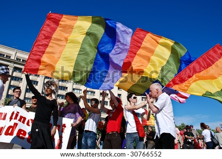 stock photo : BUCHAREST - MAY 23 : Participants parade at Gay Fest Parade ...