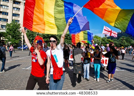 BUCHAREST - MAY 23 : Participants parade at Gay Fest Parade May 23, 2009 in Bucharest, Romania