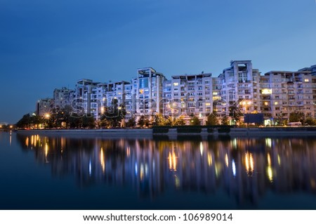 Bucharest night scene with Dambovita river