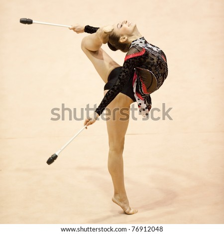 BUCHAREST, ROMANIA - APRIL 3: Alexandra Piscupescu  performs during the Irina Deleanu Orange Trophy on April 3, 2011, Bucharest, Romania