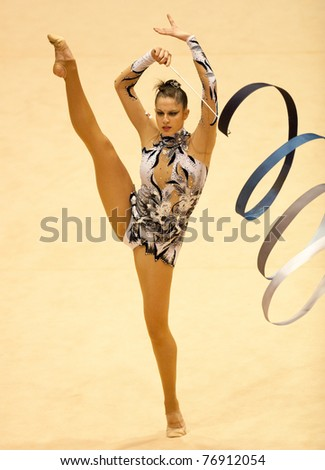 BUCHAREST, ROMANIA - APRIL 3: Carolina Rodriguez  performs during the Irina Deleanu Orange Trophy on April 3, 2011, Bucharest, Romania