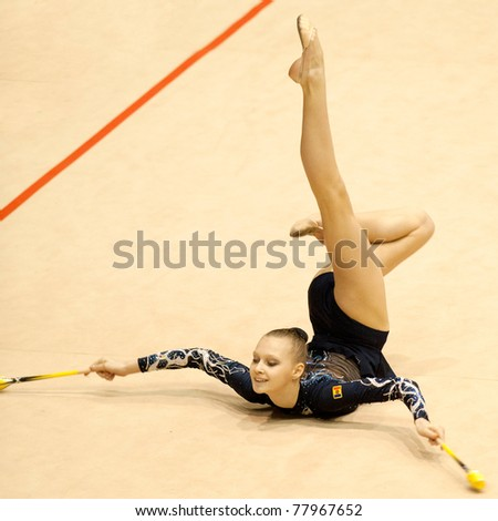 BUCHAREST, ROMANIA - APRIL 3: Isabella Iosvik performs during the Irina Deleanu Orange Trophy on April 3, 2011, Bucharest, Romania