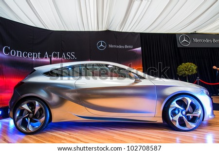 BUCHAREST, ROMANIA - APRIL 5: Mercedes Benz class A concept car on display at SIAMB on April 5, 2012 in Bucharest, Romania