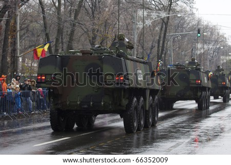 BUCHAREST, ROMANIA, DEC. 1: Military Parade on National Day of Romania, Arc de Triomphe, december 1, 2010 in Bucharest.