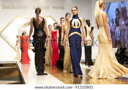 BUCHAREST, ROMANIA - DECEMBER 3: Fashion models wear clothes from Wanda's Dream collection, in Bucharest Fashion Week at World Trade Center on December 3, 2011 in Bucharest, Romania