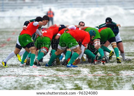 BUCHAREST, ROMANIA - FEBRUARY 4: Unidentified rugby players compete during the Romania vs Portugal game at National Stadium, score 15-4, on February 4 , 2012 in Bucharest, Romania