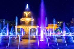 Bucharest, Romania - Fountain in Unirii Square. Fountain