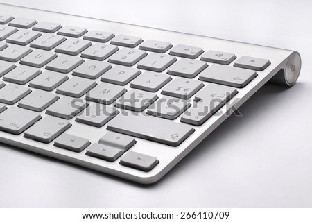 BUCHAREST, ROMANIA - JAN 7, 2015 Close up of the typical Mac Keyboard of an Apple wireless Computer #266410709