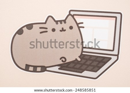 BUCHAREST, ROMANIA - JANUARY 31, 2015: Pusheen The Cat Mouse Pad Texture. Pusheen is an animated webcomic series created in 2010 that depicts the life and dreams of the titular gray tabby cat.