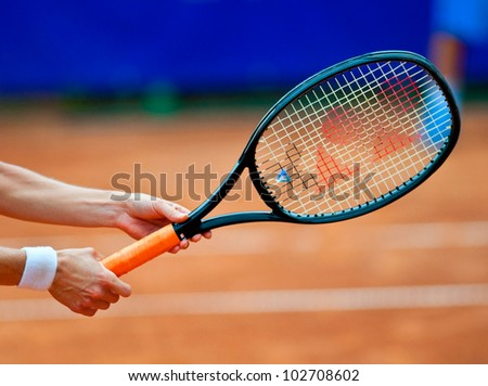 BUCHAREST, ROMANIA - JULY 19: Detail of a tennis player leg in action during BCR Open Ladies on July 19, 2011 in Bucharest, Romania