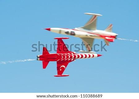 BUCHAREST,ROMANIA - JULY 22: Turkish Stars demoteam at Bucharest airshow, Romania,  July 22, 2012