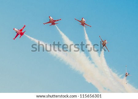 BUCHAREST,ROMANIA - JULY 22: Turkish Stars demoteam at Bucharest airshow, Romania,  July 22, 2012