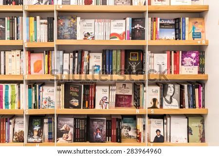 BUCHAREST, ROMANIA - JUNE 03, 2015: Famous Classic Literature Books For Sale On Library Shelf.