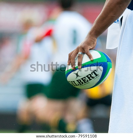 BUCHAREST, ROMANIA - JUNE 15: Unidentified rugby compete player during Romania vs South Africa in IRB Nations Cup at National Stadium, on June 15 , 2011 in Bucharest, Romania