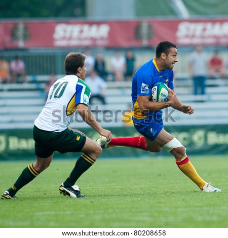 BUCHAREST, ROMANIA - JUNE 15: Unidentified rugby players  compete during Romania vs South Africa in IRB Nations Cup at National Stadium on June 15, 2011 in Bucharest, Romania