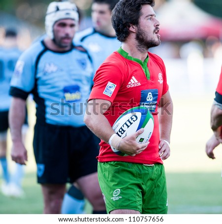 BUCHAREST, ROMANIA - JUNE 17: Unidentified rugby players during Portugal vs Uruguay in European Nations Cup at National Stadium, score 7-35, on June 17 , 2012 in Bucharest, Romania