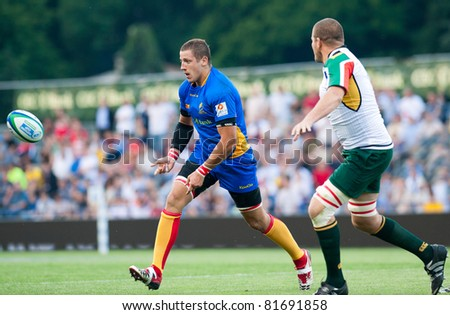 BUCHAREST, ROMANIA - JUNE 15: Unidentified rugby players during Romania vs South Africa in IRB Nations Cup at National Stadium, on June 15 , 2011 in Bucharest, Romania