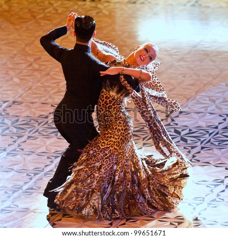 BUCHAREST, ROMANIA - MARCH 31: An unidentified dance couple in a dance pose at Dance Master, March 31, 2012 in Bucharest, Romania