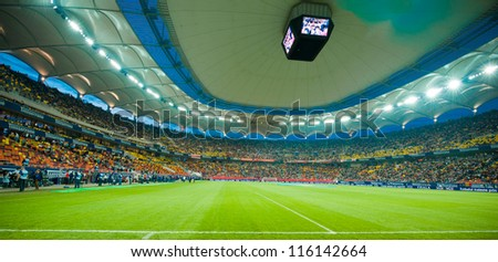 BUCHAREST, ROMANIA - MAY 23, 2012: Bucharest National Arena during the soccer game Romanian Cup Timisoareana, Dinamo Bucharest vs. Rapid Bucharest on May 23, 2012, Bucharest, Romania